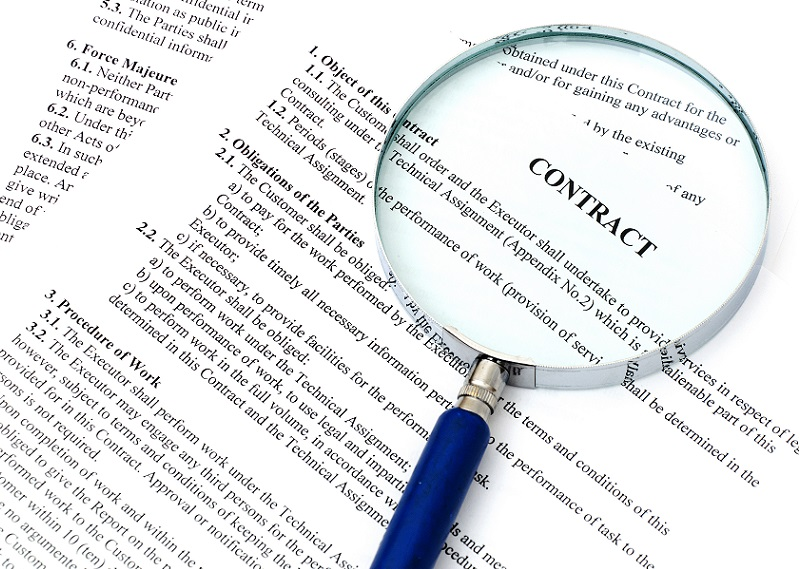 Force majeure clause in contract under magnifying glass