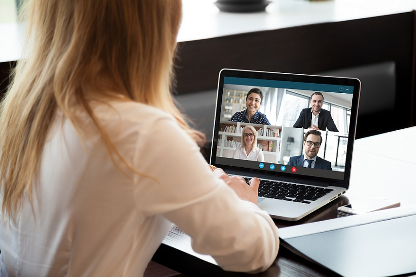 business woman conducting a virtual meeting