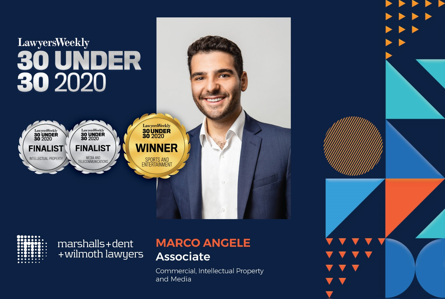 Marco Angele wins Sports and Entertainment category at the Lawyers Weekly 30 Under 30 Awards 2020